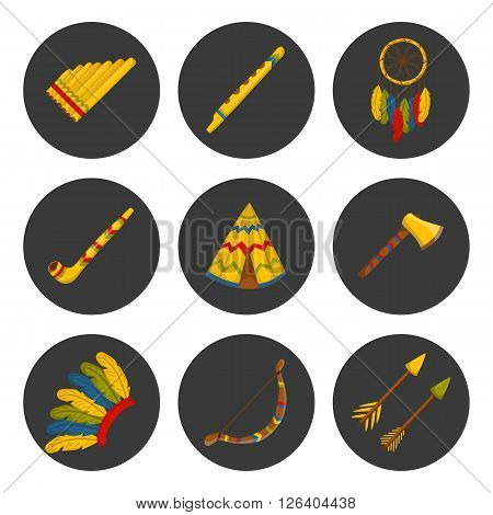 Vector cartoon indian icons: wigwam flute dreamcatcher axe. Native american tribal tradition with wigwam and dreamcatcher. Indian habit and wigwam lifestyle. Tribal dreamcatcher flure axe wigwam