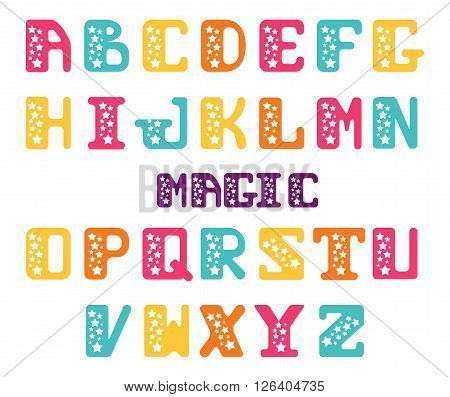 Alphabet of capital letters with stars. Star serif font. Set of letters for decoration festive posters or invitations.