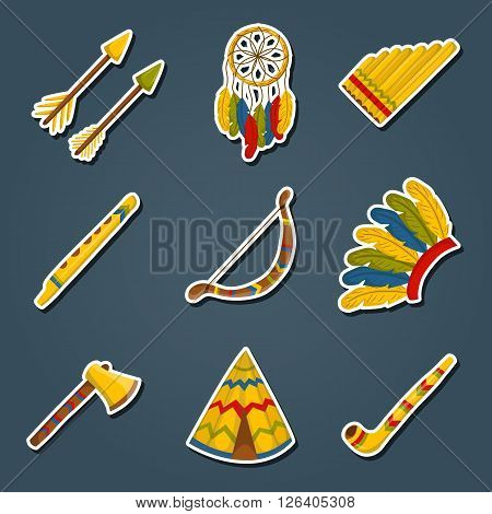 Vector cartoon indian icons: wigwam flure dreamcatcher axe. Native american tribal tradition with wigwam and dreamcatcher. Indian habit and wigwam lifestyle. Tribal dreamcatcher flure axe wigwam