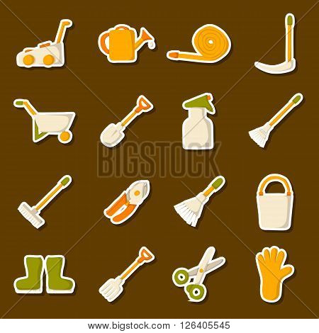 Vector garden tools icons. Cartoon garden tools objects. Garden equipment and farming tools. Farm work tools concept. Spring summer outdoor work. Garden plants care. Vector gardening tools
