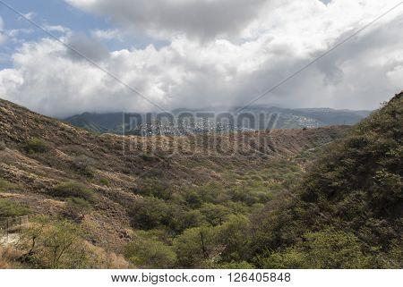 View from Diamond Head on Oahu Hawaii United States.