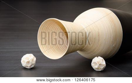 Wooden Black and Ivory Overturned jug indoor decor