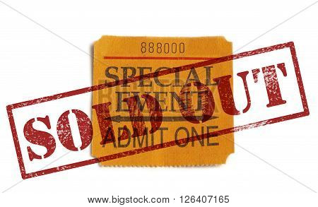 Special Event ticket stub with Sold Out stamp isolated on white