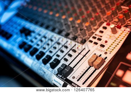An Audio Mixing Table In Soft Light