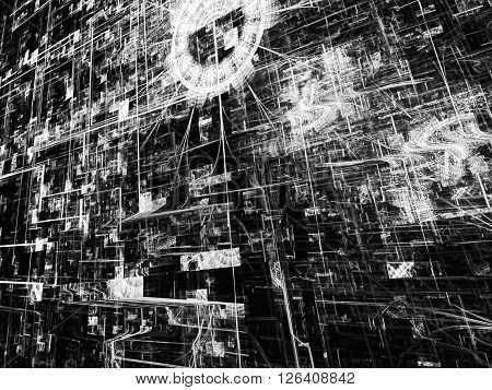 Fractal background - abstract computer-generated monochrome image. Chaos lines on a dark background - modern technology style image.
