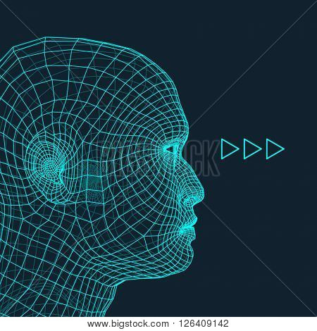 Head of the Person from a 3d Grid. 3d Polygonal Covering Skin.