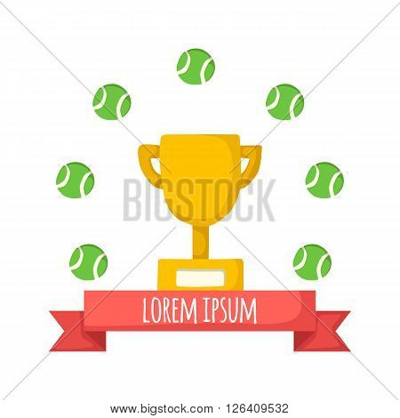 Vector background with championship cup and tennis balls in cartoon style with ribbon. Championship successful concept. Tennis tournament background.Vector illustration with tennis cup