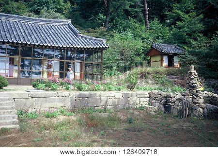 SONGNISAN NATIONAL PARK / KOREA - CIRCA 1987: A A Buddhist hermitage on a mountain in Songnisan National Park.