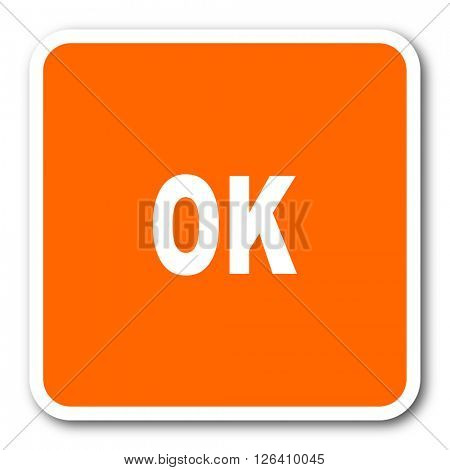 ok orange flat design modern web icon