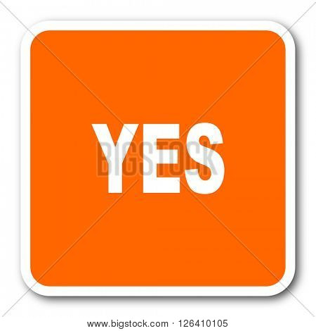yes orange flat design modern web icon