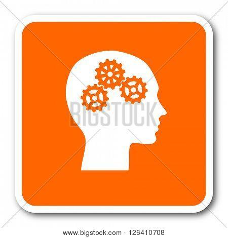 head orange flat design modern web icon