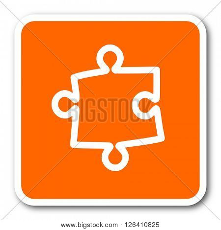 puzzle orange flat design modern web icon