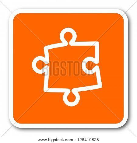 puzzle orange flat design modern web icon