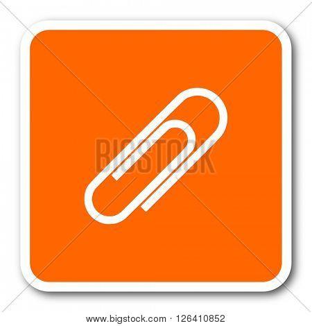 paperclip orange flat design modern web icon