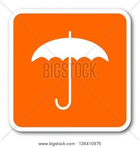 umbrella orange flat design modern web icon