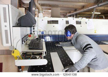 Carpenter in workshop