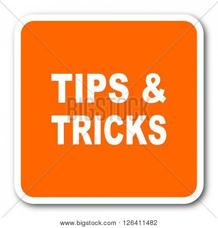 tips tricks orange flat design modern web icon