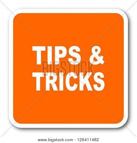 tips tricks orange flat design modern web icon