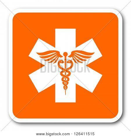 emergency orange flat design modern web icon