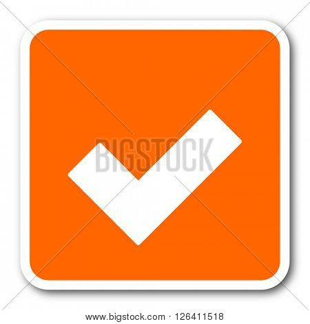 accept orange flat design modern web icon