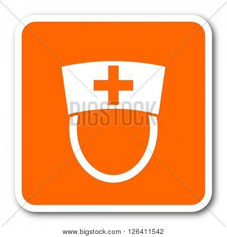 nurse orange flat design modern web icon