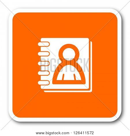 address book orange flat design modern web icon