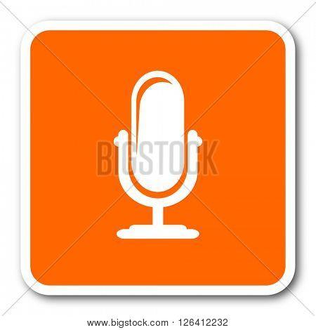 microphone orange flat design modern web icon