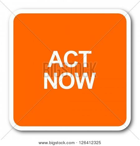act now orange flat design modern web icon