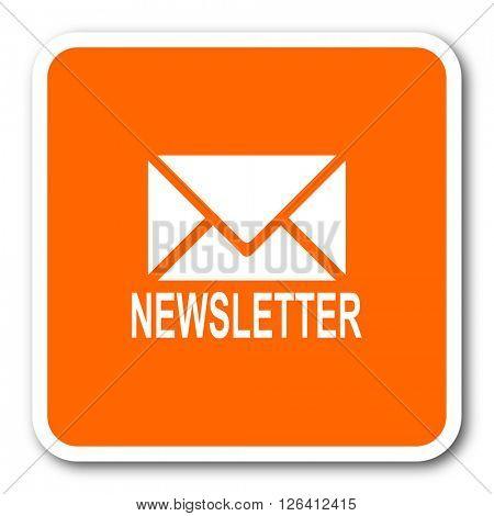newsletter orange flat design modern web icon