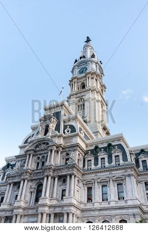 The city hall in Philadelphia, PA with blue sky