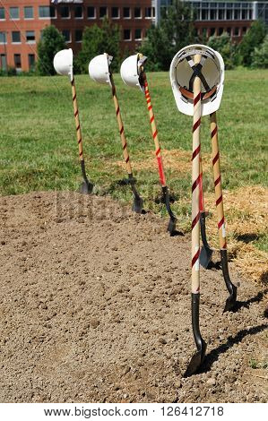 shovels for ceremony of building ground breaking