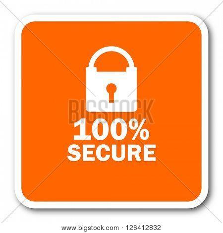 secure orange flat design modern web icon