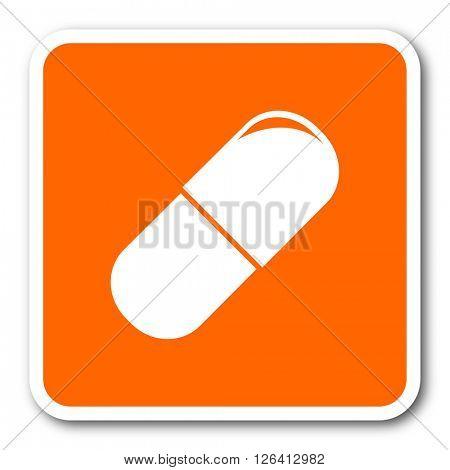 drugs orange flat design modern web icon