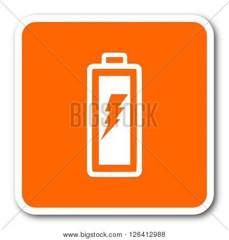 battery orange flat design modern web icon