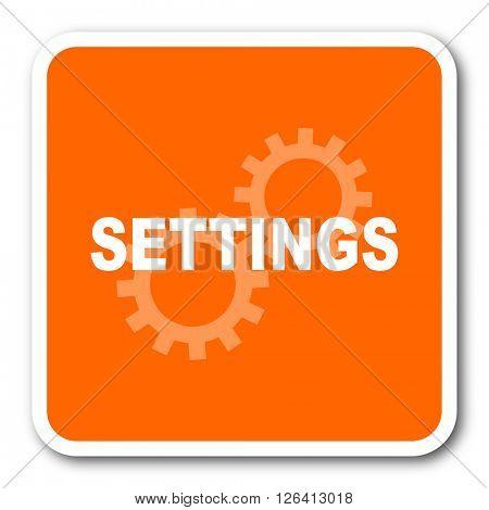 settings orange flat design modern web icon