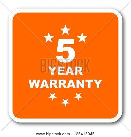 warranty guarantee 5 year orange flat design modern web icon