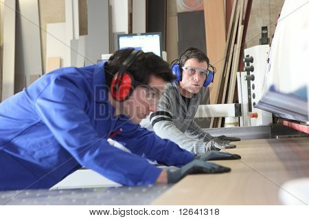 Carpenter and apprentice in workshop