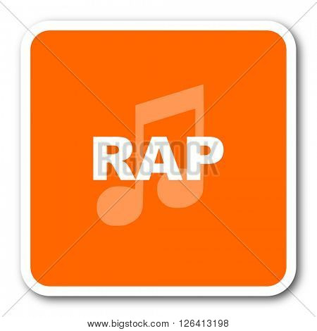 rap music orange flat design modern web icon