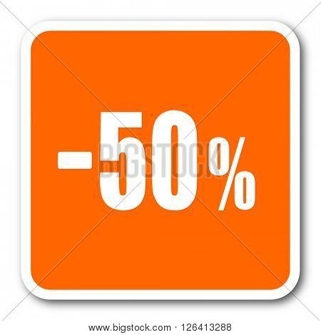 50 percent sale retail orange flat design modern web icon