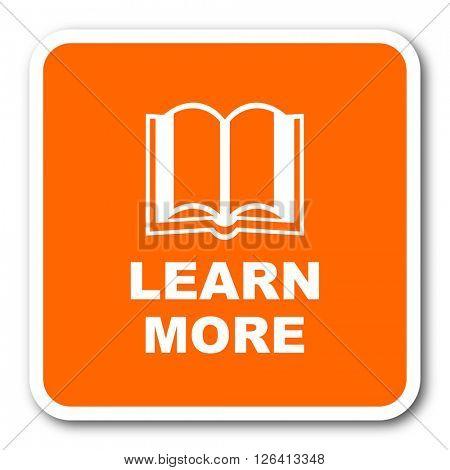 learn more orange flat design modern web icon