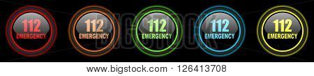 number emergency 112 colored web icons set on black background