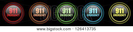 number emergency 911 colored web icons set on black background