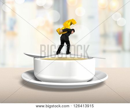 Man Carrying Dollar Sign Balancing On Spoon With Soup Bowl