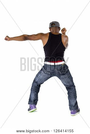 Dance instructor or hip hop musician with mic tattoo dancing
