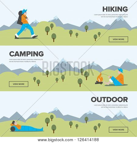 Hiking and adventure banners. Single tourism. Weekend journey. Vector illustration. Activity life. Outdoor leisure.