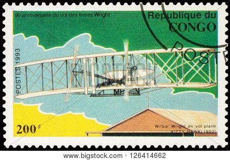 MOSCOW RUSSIA - APRIL 15 2016: A stamp printed in Congo shows Flight Wilbur Wright at Kitty Hawk glider series