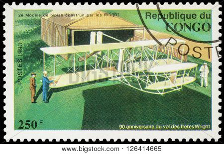 MOSCOW RUSSIA - APRIL 15 2016: A stamp printed in Congo shows 2nd model biplane Wright brothers series