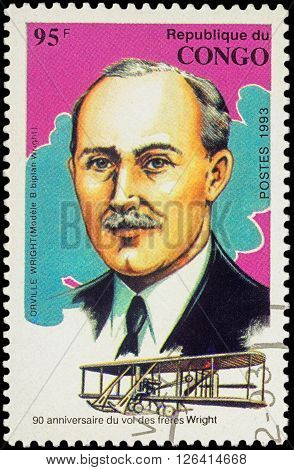 MOSCOW RUSSIA - APRIL 15 2016: A stamp printed in Congo shows Portrait of Orville Wright series