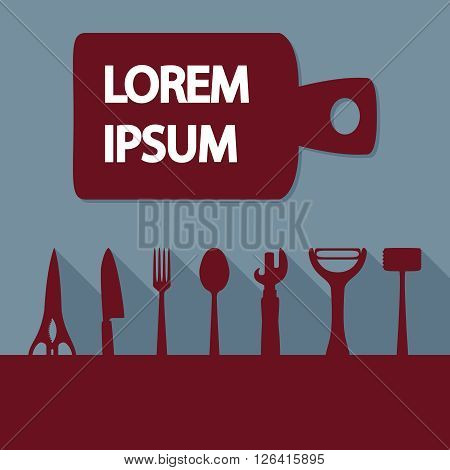 Advertising card with kitchen utensils, vector illustration