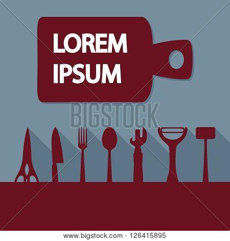 Advertising card with kitchen utensils, vector illustration